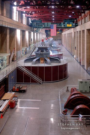 Generator room Hoover Dam, Nevada and Arizona, USA.