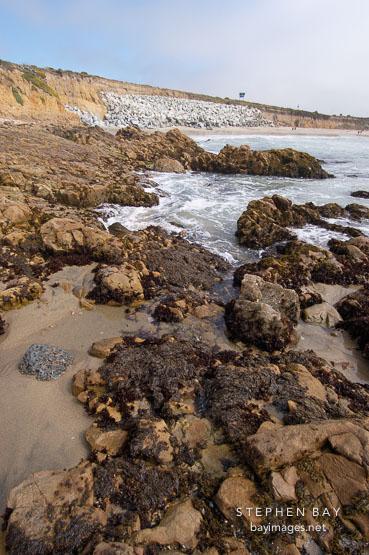 Rocky shoreline at Pescadero state beach, California, USA.
