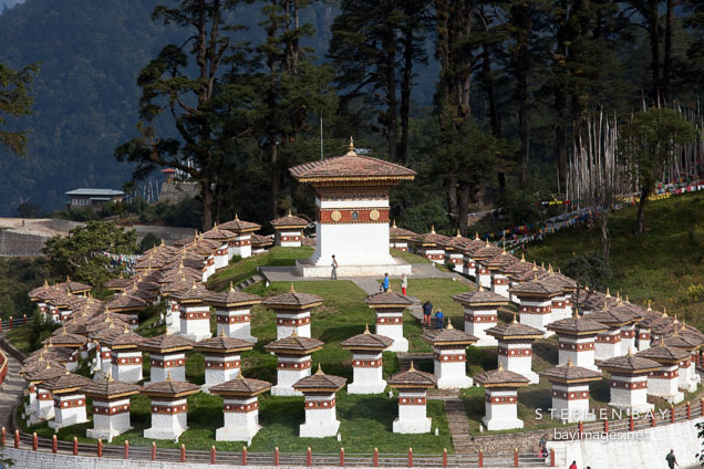 The 108 chorten are located at Dochu La pass which connects Thimphu and Punakha.