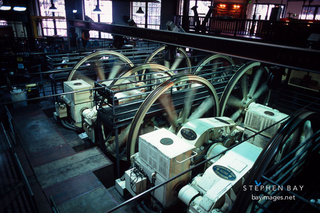 Motors and sheaves that drive the cable cars in San Francisco. California.