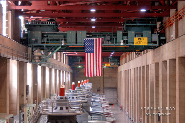 Crane used to install generators. Hoover Dam, Nevada and Arizona, USA.