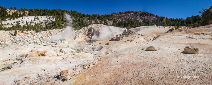 Panorama of Bumpass Hell. Lassen NP, California.