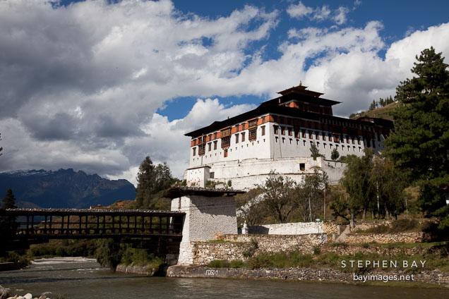 Rinpung Dzong and Paro Chhu. Paro, Bhutan.