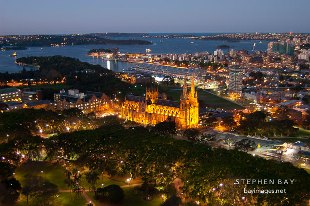 St. Mary's Cathedral at dusk. Sydney, Australia.