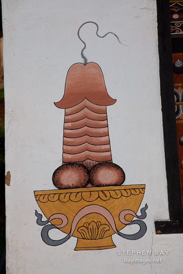 Painting of a phallus located on the side of the Gaikiling guest house. Phobjikha Valley, Bhutan.