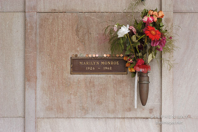 Grave of Marilyn Monroe. Hollywood Memorial Park Cemetery. Los Angeles, California, USA.