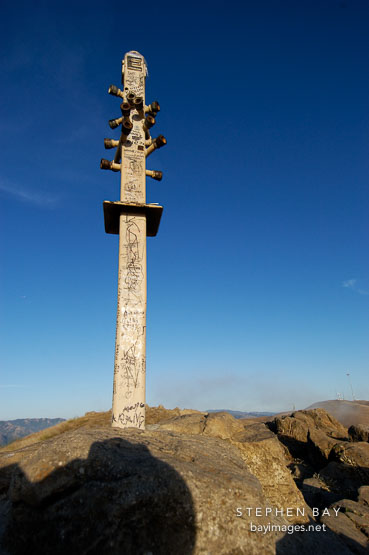 Peak marker. Mission Peak, Fremont, California, USA.