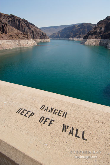 Danger, keep off wall. Hoover Dam, Nevada and Arizona, USA.