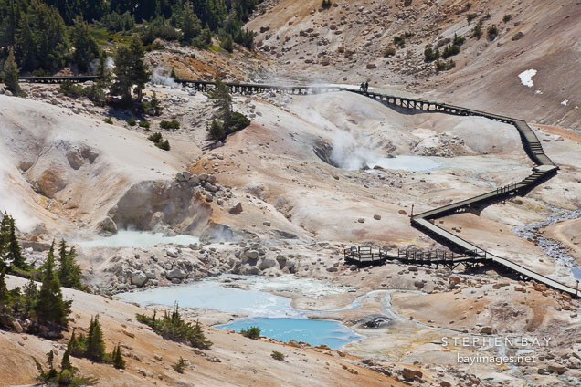Fumaroles, and pyrite pools at Bumpass Hell. Lassen NP, California.