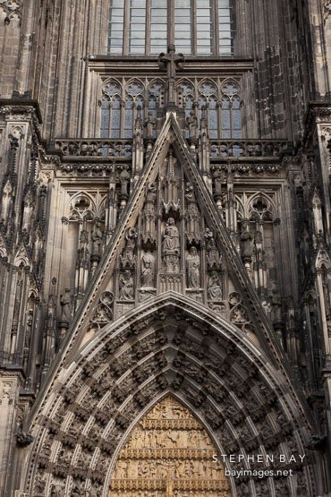 Detail of the west facade of the Cologne cathedral. Cologne, Germany.