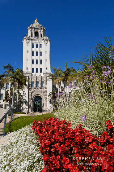 Flowers and Beverly Hills City Hall. Beverly Hills, California, USA.