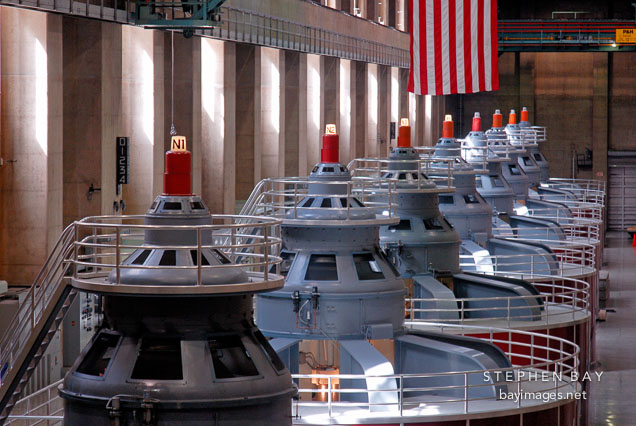 Row of generators. Hoover Dam, Nevada and Arizona, USA.