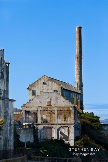 Utility buildings on Alcatraz island.