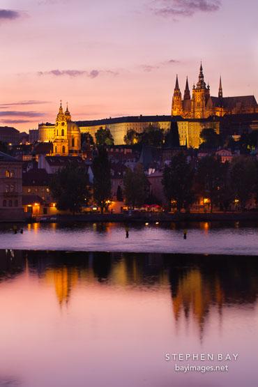 Prague castle at twilight. Prague, Czech Republic.