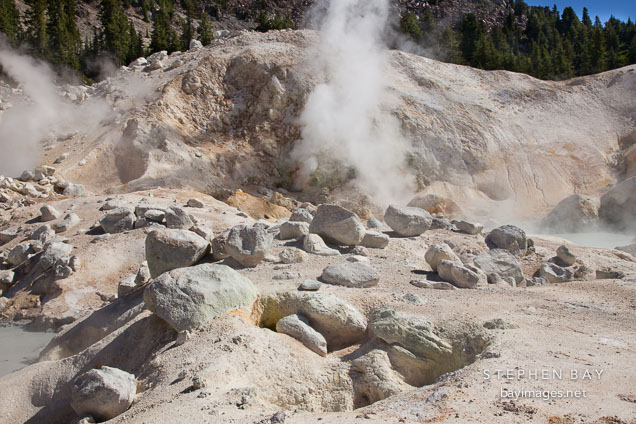 Rock boulders and fumaroles. Bumpass Hell, Lassen NP, California.