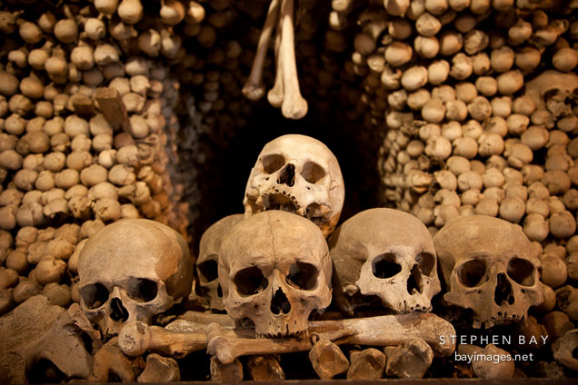 Bones stacked in the Sedlec ossuary. Sedlec, Czech Republic.