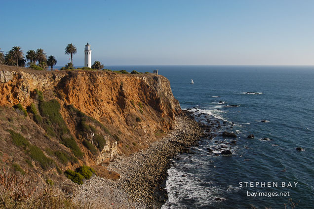 Pt. Vicente Lighthouse and coastline. Ranchos Palos Verdes, California, USA.