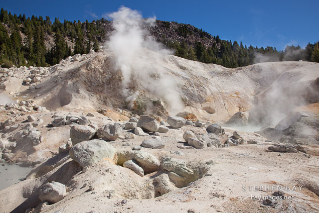 Fumaroles at Bumpass Hell. Lassen NP, California.