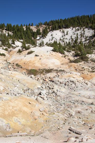 Rocky hillside of the Bumpass Hell area. Lassen NP, California.