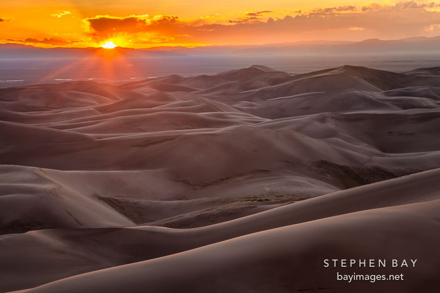Sunset viewed from high dune. Great Sand Dunes NP, Colorado.