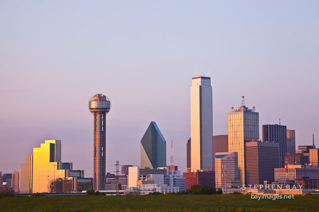 Dallas skyline at sunset.