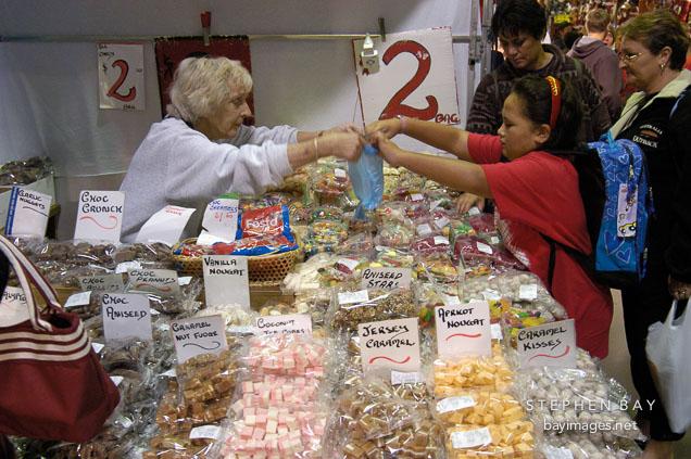 Selling candy. Paddy's market. Sydney, Australia.