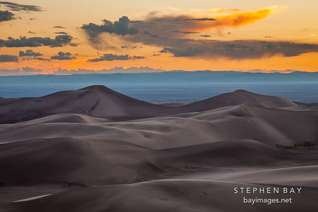 Looking west over the dune field. Great Sand Dunes NP, Colorado.