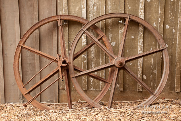 Rusted wagon wheels at the Whaler's cabin. Point Lobos, California.