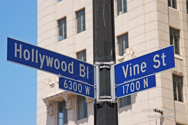 Hollywood and Vine street sign. Hollywood, California, USA.