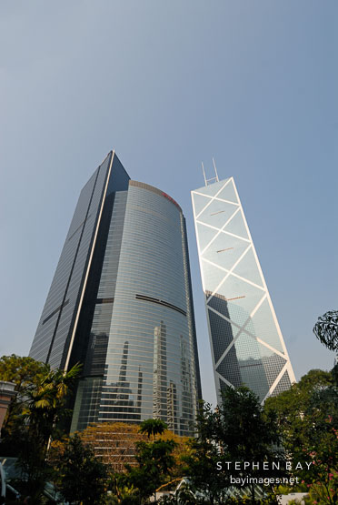 Bank of China Tower and Citibank Plaza. Hong Kong, China.