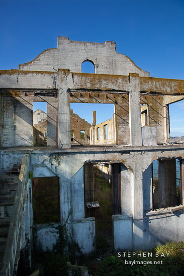 Remains of the post exchange and officer's club building. Alcatraz Island, California.