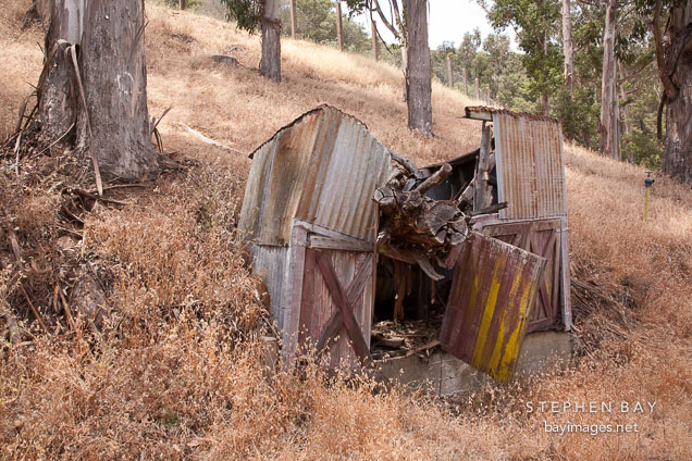 Run down storage shed. Angel Island, California.
