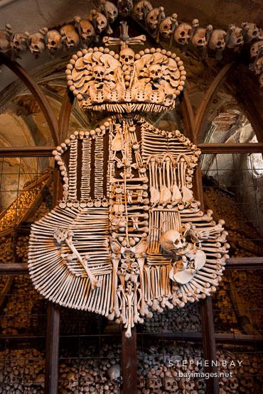 Schwarzenburg bone coat of arms. Sedlec bone church.