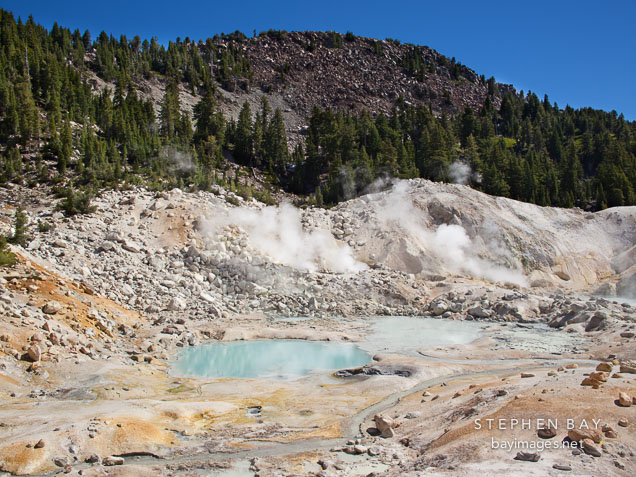 Turquoise pools and fumaroles at Bumpass Hell. Lassen NP, California.