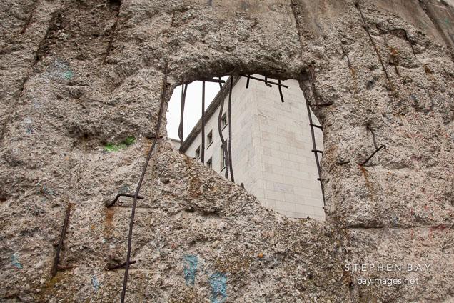 Hole in Berlin Wall. Berlin, Germany.
