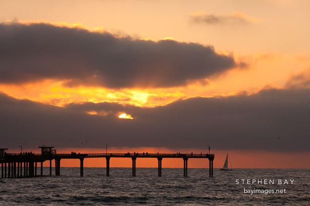 Sunset at Ocean beach pier. San Diego, California.
