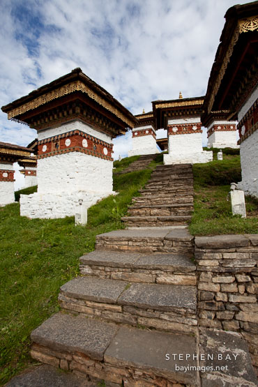 Steps leading up between the chorten. Druk Wangyal Chorten, Dochu La, Bhutan.