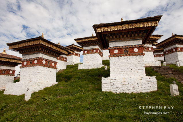 Several of the 108 chortens at Dochu La pass, Bhutan.