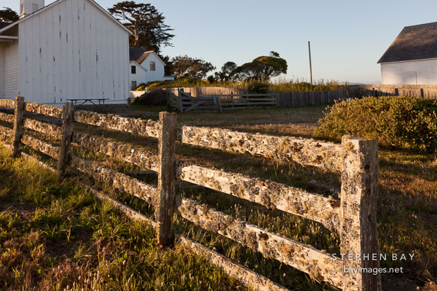 Lichen coated fence at Pierce Point Ranch. Point Reyes, California.