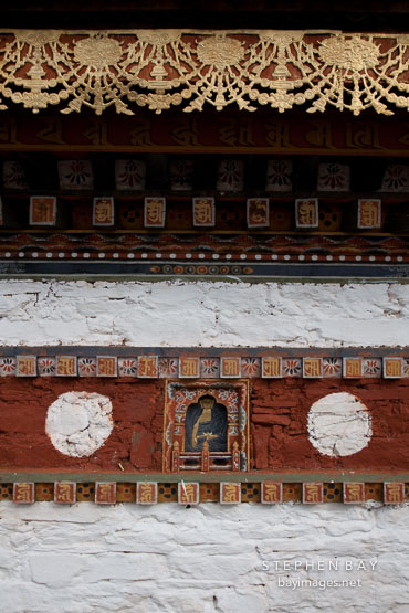 Intricate artwork on one of the 108 chorten. Dochu La, Bhutan.