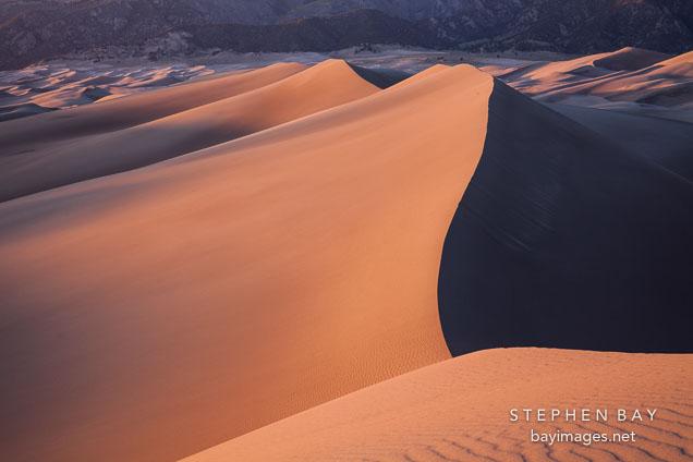 Last light on the sand dunes. Great Sand Dunes NP, Colorado.