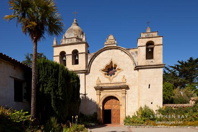 The basilica of the Mission San Carlos Borromeo de Carmelo. Carmel, California.