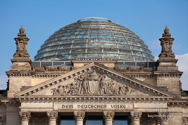 Dome atop the Reichstag. Berlin, Germany.