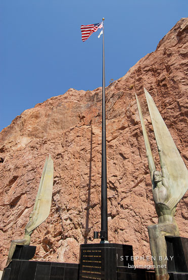 Oskar Hansen created the Winged figures of the Republic. Hoover Dam, Nevada and Arizona, USA.