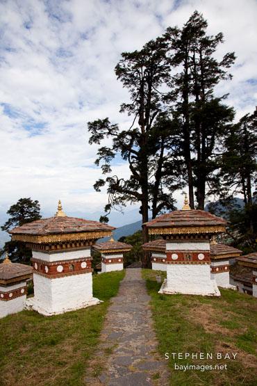 Stone path and the 108 Chorten. Dochu La, Bhutan.