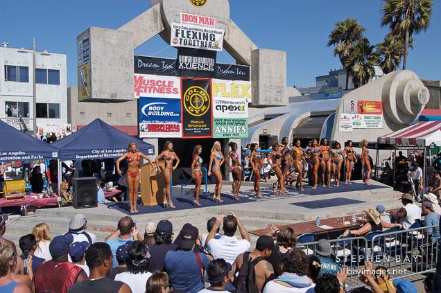 Female bodybuilders. Muscle beach, Venice, California, USA.