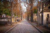 Cobblestone path in Pere Lachaise Cemetery. - Photo #31400