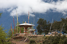 Gazebo with a giant prayer wheel. Paro, Bhutan. - Photo #24300