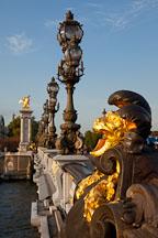 Lion sculpture on the Alexandre bridge. Paris, France. - Photo #31100