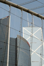 Office buildings seen through the mesh of the Edward Youde Aviary. Hong Kong, China. - Photo #16500